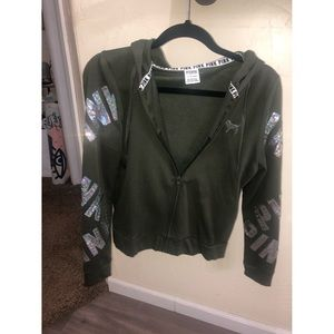 VS PINK Bling Olive Green Zip Up Sweater
